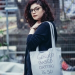 Gender based dating tote bag